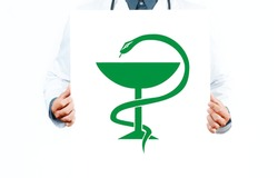 Doctor with Caduceus medical symbol vector. Medical Snake with a cup.