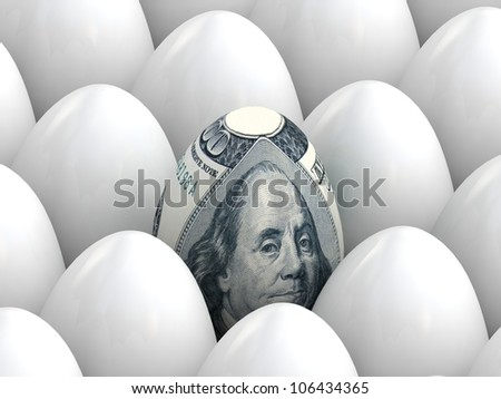 100 dollar banknote in shape of egg around white eggs