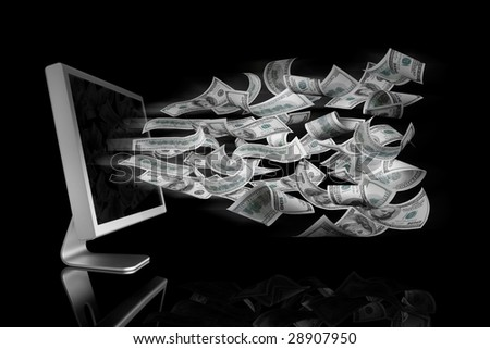 100 Dollar bills coming out a computer screen