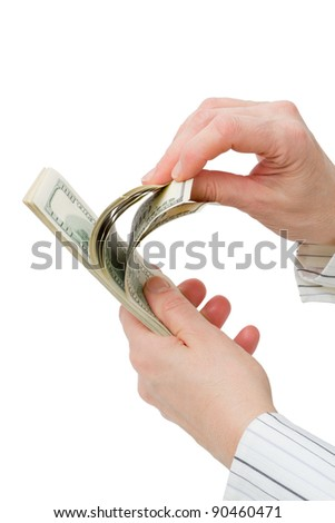 $100 dollar bills counted. Isolated on white background