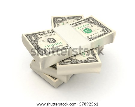 100 dollar bills 3d rendered