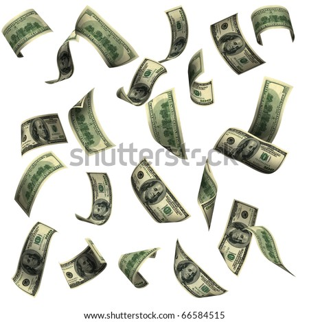 100 dollar bills, flying in clear sky. The image of very big resolution - stock photo