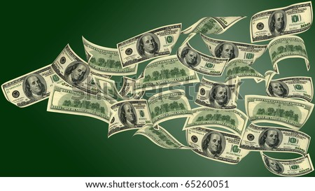100 dollar bills, flying on green background. The image of very big resolution.
