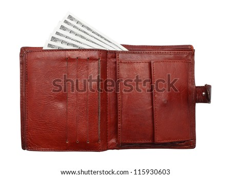 100 dollar bills from purse. Isolated on white. Finance Concept