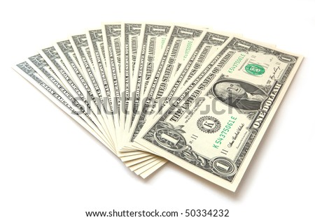1 dollar bills isolated