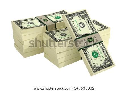 1 Dollar bills isolated on white background