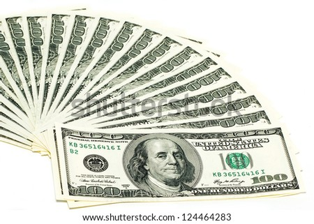100 dollar bills on a white background. Fan stack. - stock photo