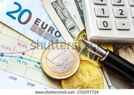 Dollar, Euro currency and Czech crown money - exchange rate - economy and finance in international business - import and export