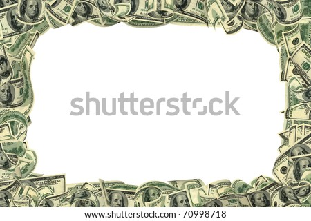 100 dollar frame isolated on white. All banknotes different. For giving realness of money contain elements of deterioration.