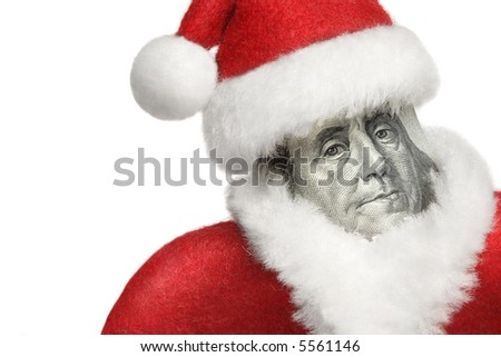 100 dollars banknote rolled and  dressed in Santa's uniform