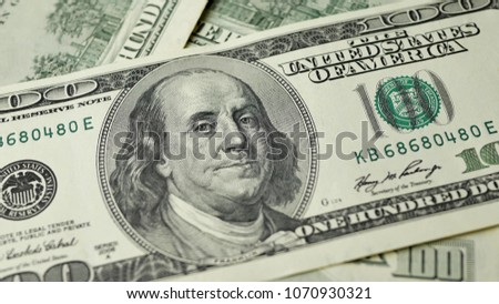100 Dollars bill and portrait Benjamin Franklin on USA money banknote