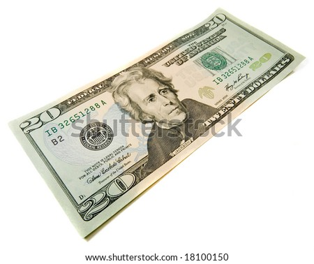 20 dollars bill. Wide angle view. Isolated over white. Business concept
