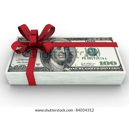 100 dollars gift isolated on white background 3d