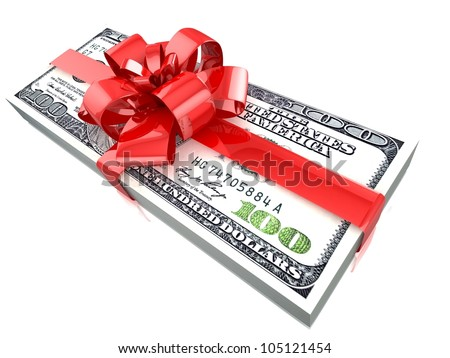 100 dollars gift pack isolated on white background 3d - stock photo