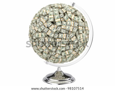 100 dollars globe on white isolated background
