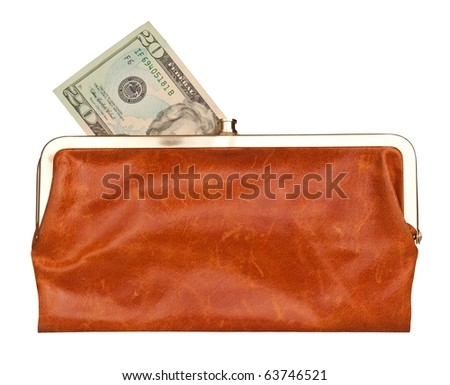 20 dollars note in a brown leather purse isolated on white