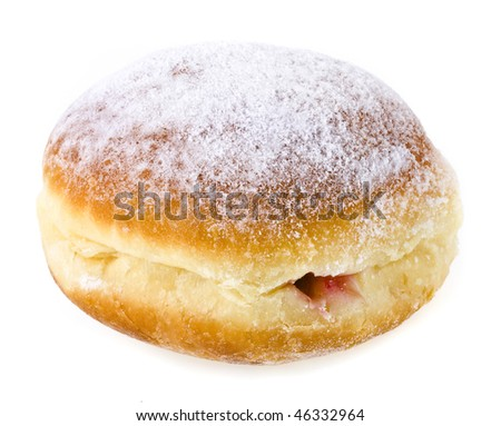 Donut with cherry jam on white background