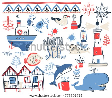 doodle illustration. North sea. Scandinavian style. Collection with lighthouse, boat, marine animals, whale, killer whale, crabs gull fish sea symbols