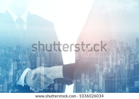 Double exposure of Interview or dialogue between politicians. Negotiation of two statesman with clasped hands in city.business and technology concept. #1036026034