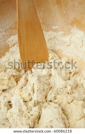 Dough with Wooden Spatula