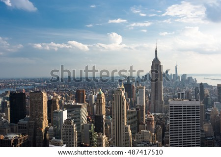 Downtown Manhattan Skyline with the Empire State Building, New York City #487417510