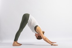 (7-104) Downward Dog Pose (Adho Mukha Svanasana) Yoga Postures (Asana)