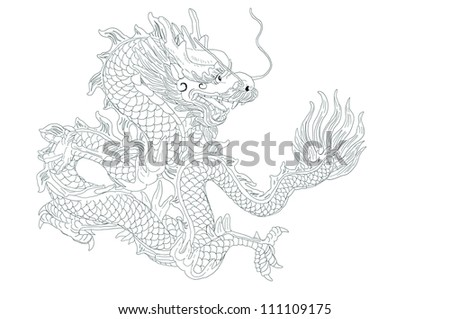 dragon line with white background