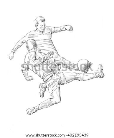 Draw soccer player in action Stock Photo 342826580 - Avopix com