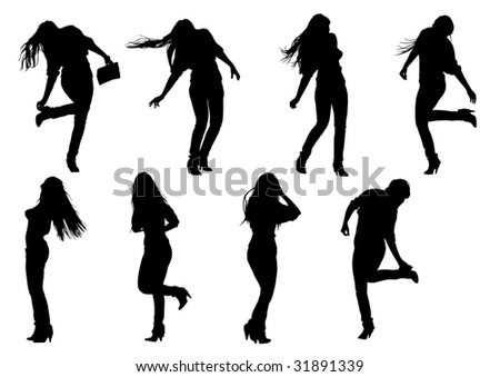 stock photo : drawing a girl with long hair, silhouette against a white