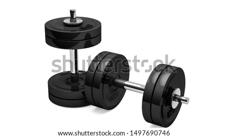 3DRendering,Realistic two metal dumbbells with black and chrome colors texture, isolated on white background.