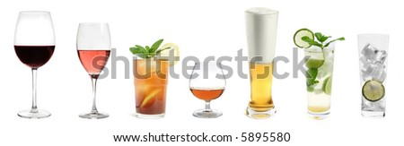 drink collection isolated on white