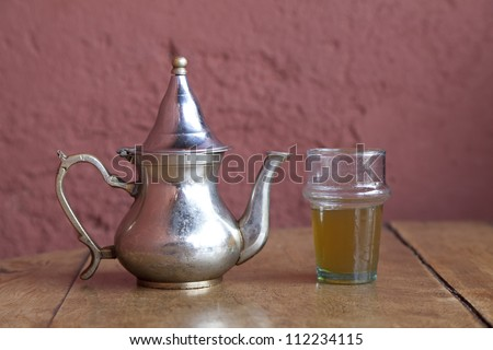 Drinking traditional tea in Marrakesh Morocco,April 1,2012