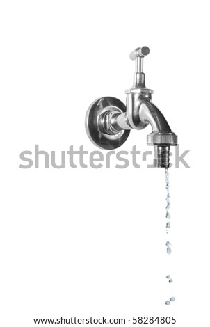 dripping metal tap on white background