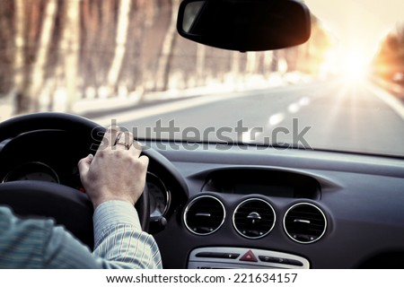 Driving car on empty road