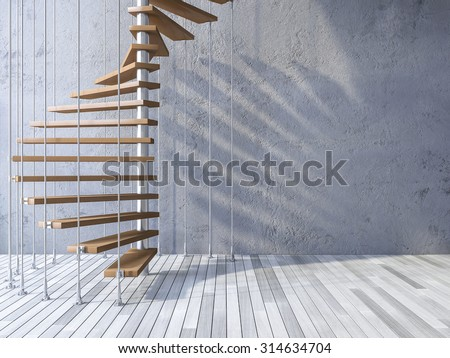 3ds rendered image of wooden spiral staircase hanged from ceiling by stainless cables, shadow on cracked concrete wall and old wooden floor stock photo