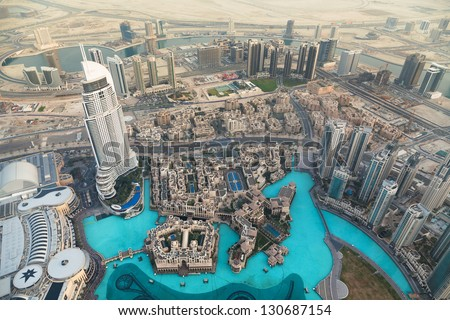 DUBAI, UEA-January 28,View on Dubai from the highest tower in the world, Burj Khalifa (828 metres) on January 28,2013
