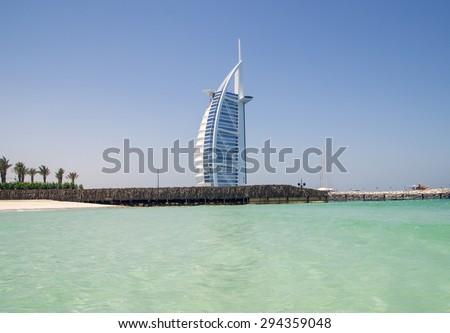 DUBAI, UNITED ARAB EMIRATES - 16 JUNE  2015  : Burj Al Arab, One of the most famous landmark of United Arab Emirates. Picture taken on June  2015.