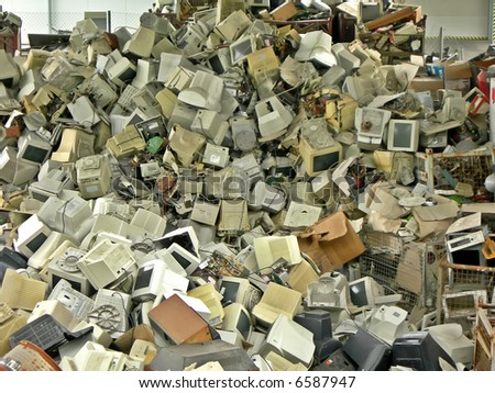 Dump of old broken computers - place where modern technology ends forever