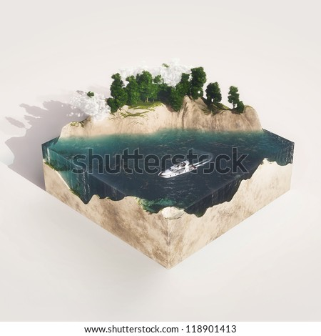 Earth cross section with water,  mountains, tree