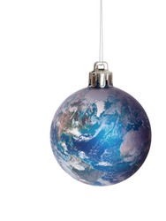 .Earth, globe bauble, for Christmas, festive. Isolated on white. Global concept. America and Europe prominent. Note: Elements of this image furnished by NASA.