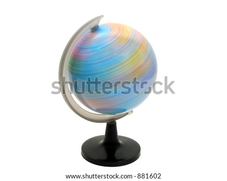 Earth globe spinning over white background with clipping path