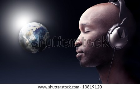 earth space view and a man listening music