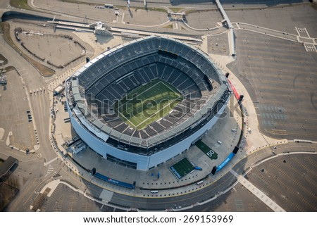 EAST RUTHERFORD,NJ - APRIL 5: Aerial view of Metlife Stadium on April 5th,2015.It is the home of the New York Giants and New York Jets of the NFL and has a capacity of 82566.It opened in april 2010. #269153969