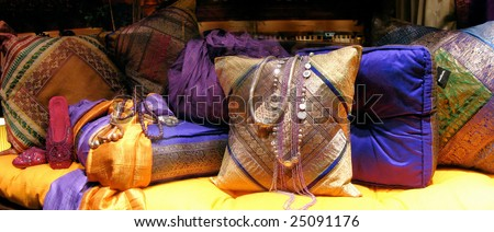 east traditional interior with pillows - stock photo