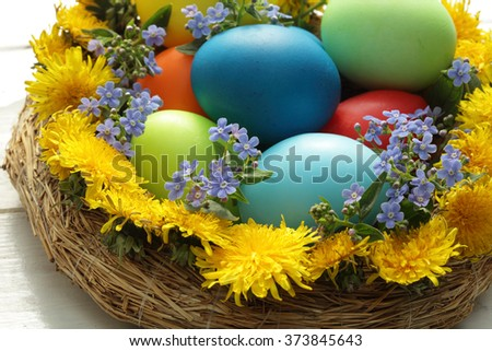 Easter eggs basket/ painted Easter eggs/ Easter background/ spring flowers/ Easter flowers