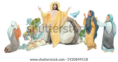 Easter illustration Jesus Christ is risen, isolated on white background watercolor hand drawn praying women and cave of resurrection. Easter print, publication, banner. Religious church background Photo stock ©