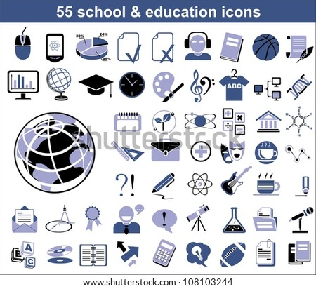 55 education icons in blue and black colors. Vector version also available in portfolio