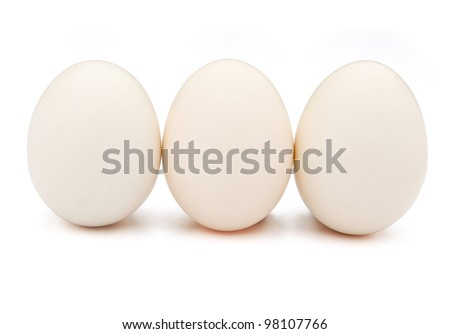 3 eggs stand up with clipping path