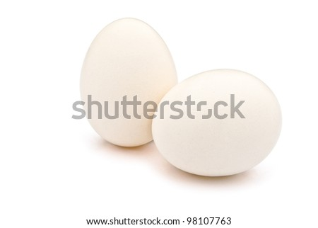 2 eggs with clipping path, one stands up the other lay down