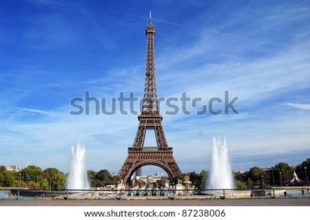 Eiffel Tower at sunny day in Paris, France